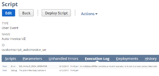 Script Edit Back | Deploy Script | Actions TYPE User Event NAME Auto Invoice UE ID customscript_autoinvoice_ue